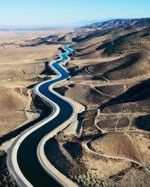 Aerial view of aqueduct, California.