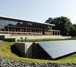 "Leaders in the emerging Living Building movement define a living building as ""a structure that generates all of its own energy with renewable non-toxic resources, captures and treats all of its water, and operates efficiently and for maximum beauty."" Pictured: the Omega Center for Sustainable Living in Rhinebeck, New York, which hopes to become a certified living building in May 2010 after it is a year old."
