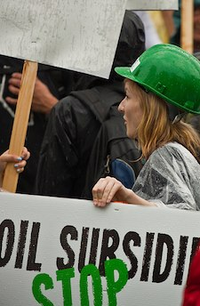 A protestor at the Toronto G20 summit calling for an end to oil subsidies
