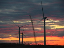 """In a recent speech to Congress, President Barack Obama said: """"To truly transform our economy, protect our security, and save our planet from the ravages of climate change, we need to ultimately make clean, renewable energy the profitable kind of energy."""" Pictured: A wind farm takes shape in Langdon, North Dakota."""