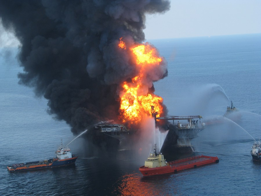 Oil burning in the Gulf near the site of the Deepwater Horizon disaster