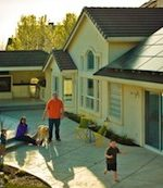 A family enjoys the benefits of solar power from leased solar panels