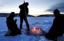 Researches ignite escaping methane gas from the melting ice