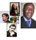 Father Neftali, Judi Bari, Felipe Arreaga, Alexsandr Nikitin, and Joab Omandi