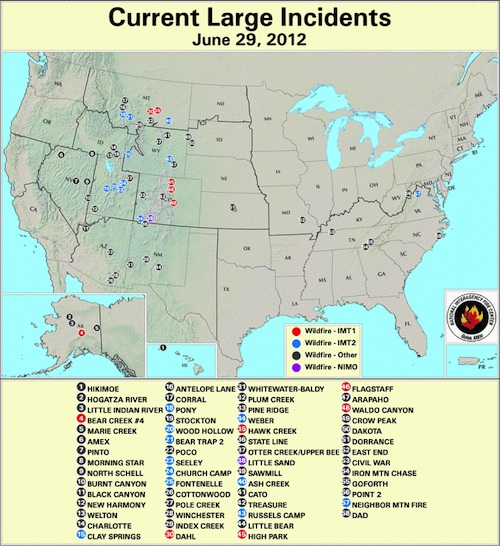 A map of all large fire incidents from the National Interagency Fire Center