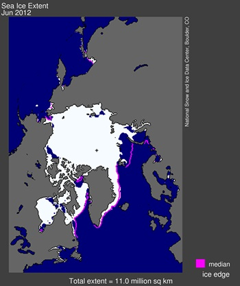 Sea ice extent June 2012