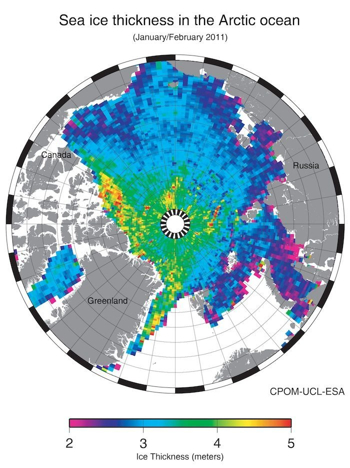 Cryosat-2 measures 50 percent more loss of sea ice than models have predicted