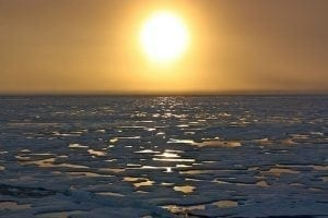 A melting ocean and Arctic sunset