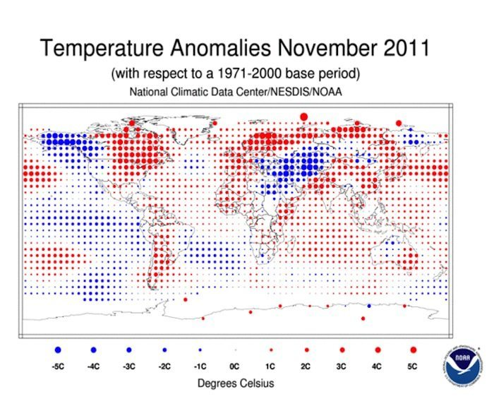 Above Average Temperatures for November Keep U.S. on Track for Record Hot Year