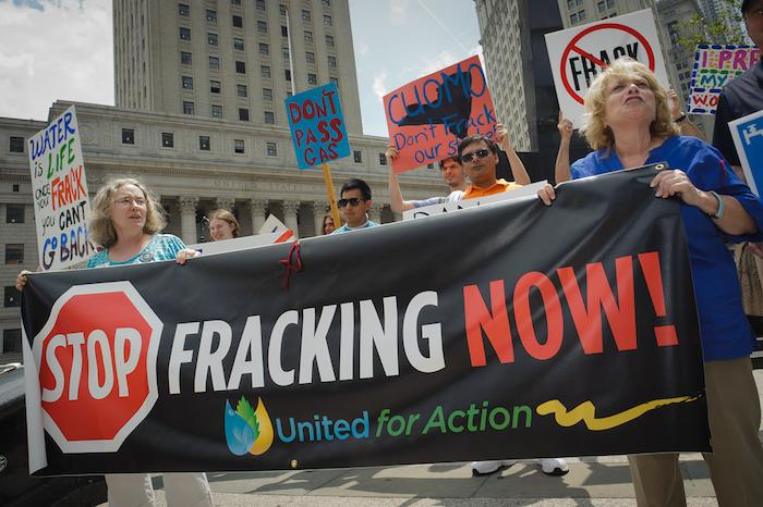 The fight against fracking at a Manhattan protest