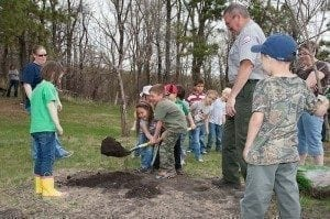 Green schools - tree planting day with the US Army Corps of Enginneers