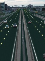 Artist rendition of Solar Roadways interstate.