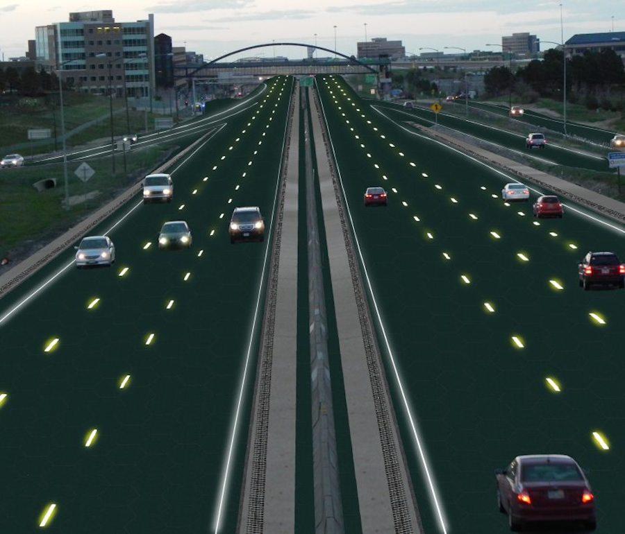 Artist rendition of Solar Roadways interstate.