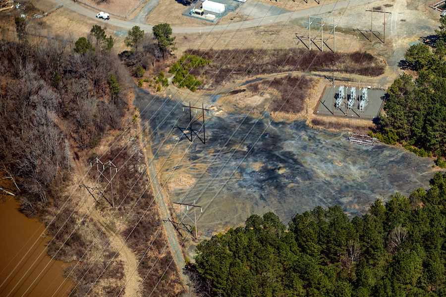 Waterkeeper Alliance and the Cape Fear Riverkeeper documented an area of heavy seepage flowing from this barren area at the north end of the 1963 coal ash impoundment directly into the Cape Fear River.