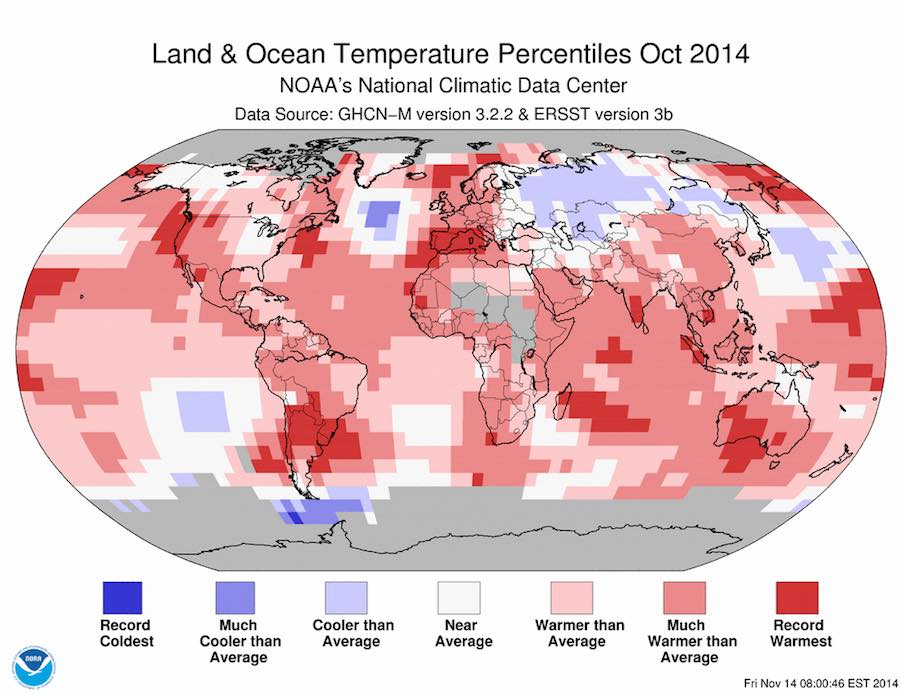 Warmest October on Record – Fifth Record Warm Month of 2014