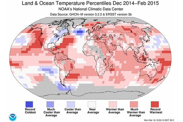 NOAA data showing average land and sea surface temperatures for December 2015 to February 2015. The warmest winter on record