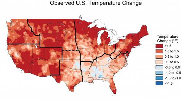 Observed Temperature Change in the Unites States