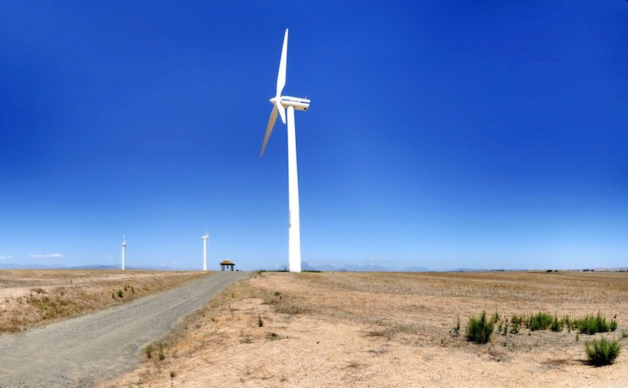 Wind turbines in South Africa. Sustainable economic growth means investing in sustainability