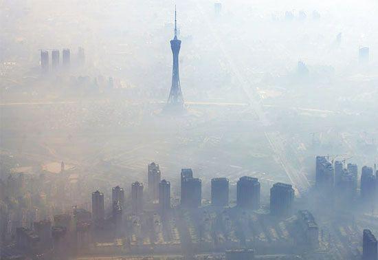 aerial view of Beijing smog