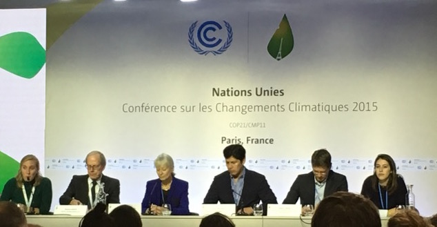 COP21 press conference announcing $3.4 million in fossil fuel divestment