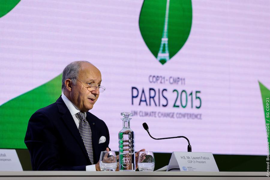 COP21 president Laurent Fabius presides over Paris climate talks