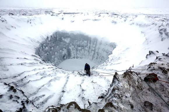 A crater in Siberia - melting ice and permafrost in the Arctic