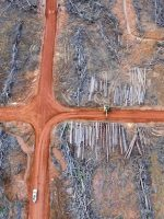 Aerial photograph showing a pile of wood that has been prepared to be burned will be planted oil palm area of PT PAPUA ALAM LESTARI