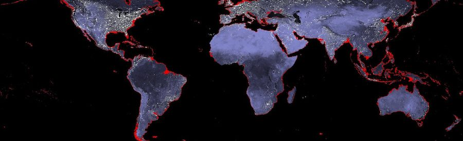 The world's coastlines with a 6 meter (19+ foot) rise in sea level. NASA