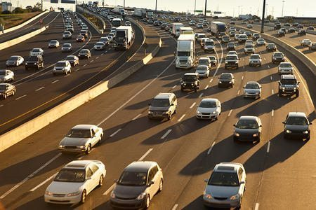 Highway congestion and bumper to bumper cars for commuters