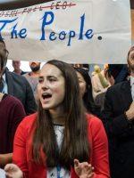 Protestors at the U.S. COP23 side event promoting clean coal