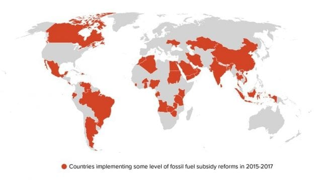 New Climate Economy: Countries implementing some level of fossil fuel subsidy reforms in 2015-2017