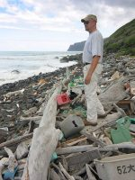 Plastic piles up on beach on Niihau island, Hawaii