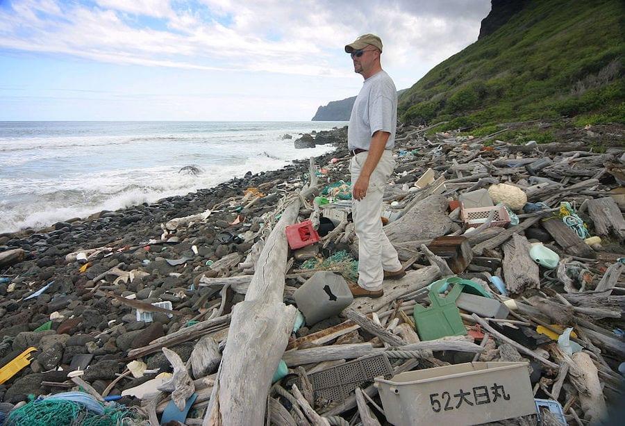 Plastic piles up on beach on Niihau island, Hawaii