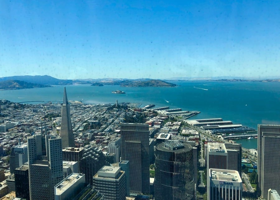 The view from atop Salesforce Tower in San Francisco, the second only to San Diego as the greenest city in the United States